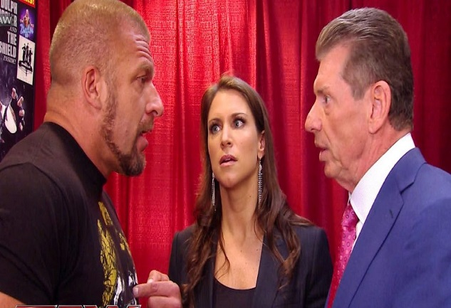 Vince McMahon, Triple H and Stephanie McMahon WWE Co-presidents