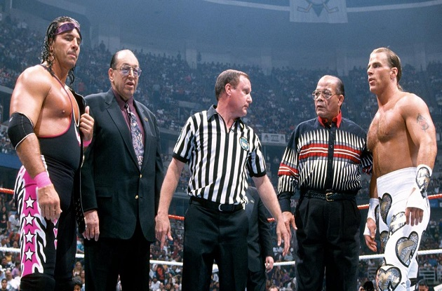 Earl Hebner, Bret hart and Shawn Michaels