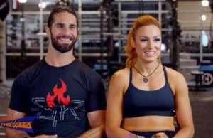 Seth Rollins and Becky Lynch smile