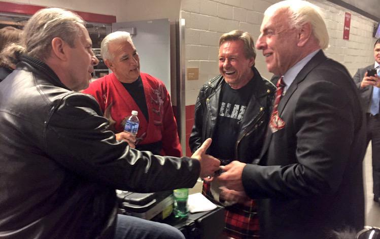 Bret Hart, Ricky Steamboat, Roddy Piper and Ric Flair hanging out
