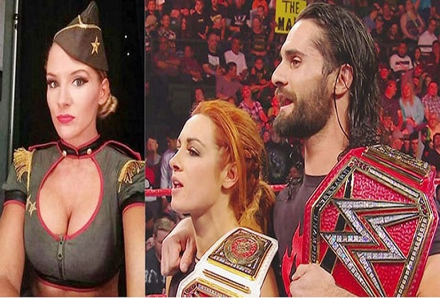 Lacey Evans, Becky Lynch and Seth Rollins