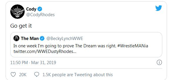 Cody Rhodes responds to Becky Lynch tweet about Dusty Rhodes