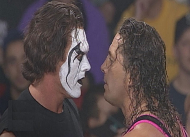 Sting and Bret Hart square off
